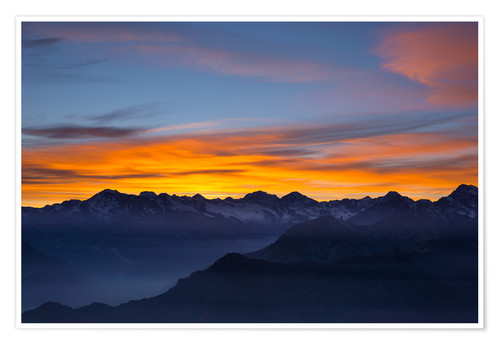 Premium poster Colorful sky at sunset over the Alps