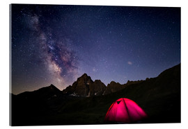 Acrylic print  Glowing camping tent under starry sky on the Alps - Fabio Lamanna