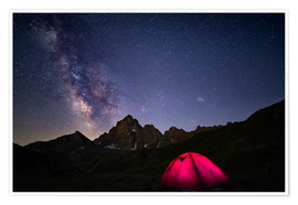 Poster  Glowing camping tent under starry sky on the Alps - Fabio Lamanna