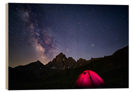 Wood print  Glowing camping tent under starry sky on the Alps - Fabio Lamanna
