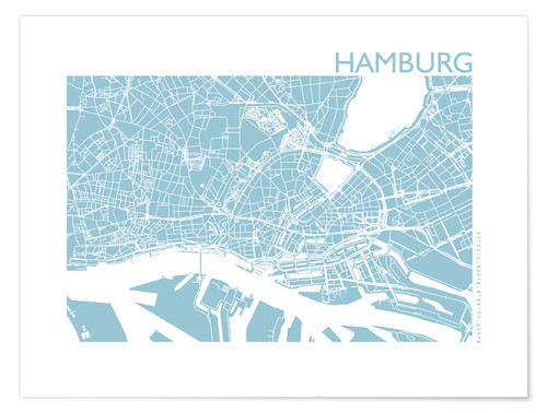Premium poster City map of Hamburg