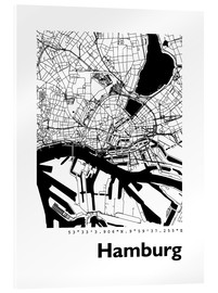 Acrylic glass  City map of Hamburg - 44spaces