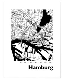 Poster  City map of Hamburg - 44spaces