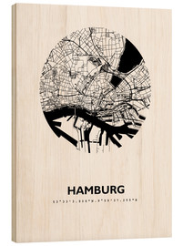 Wood print  City map of Hamburg - 44spaces
