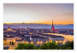 Premium poster Turin (Torino) city at sunset, Italy