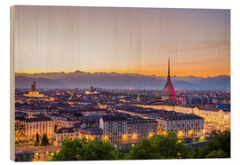 Wood print  Turin (Torino) city at sunset, Italy - Fabio Lamanna
