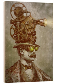 Wood print  The projectionist - Eric Fan