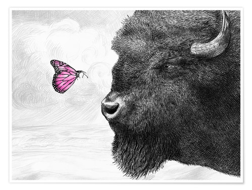 Poster Bison And Butterfly