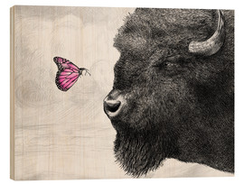 Wood print  Bison And Butterfly - Eric Fan