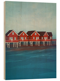 Wood print  Norwegian lake houses - Sybille Sterk