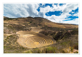 Premium poster The archaeological site at Moray, travel destination in Cusco region and the Sacred Valley, Peru.