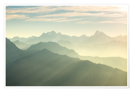 Premium poster  Sunlight behind mountain peaks silhouette, the Alps - Fabio Lamanna