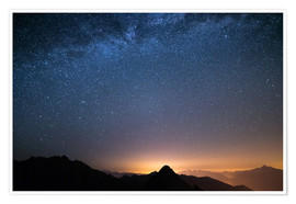 Premium poster Starry sky and the majestic high mountain range of the Alps,