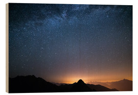 Wood print  Starry sky and the majestic high mountain range of the Alps, - Fabio Lamanna