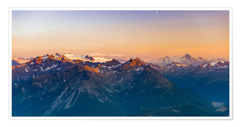 Premium poster Sunset over rocky mountain peaks, ridges and valleys, the Alps