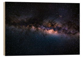 Wood print  The Milky Way galaxy, details of the colorful core. - Fabio Lamanna