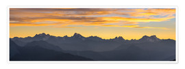Premium poster The Alps at sunset, panoramic view