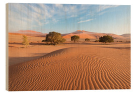 Wood print  Morning mist over sand dunes and Acacia trees at Sossusvlei, Namibia - Fabio Lamanna