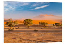 Foam board print  Morning mist over sand dunes and Acacia trees at Sossusvlei, Namibia - Fabio Lamanna