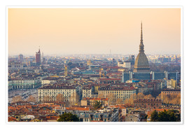 Premium poster Turin skyline, sunset light, Italy