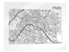 Acrylic glass  Map of Paris - 44spaces