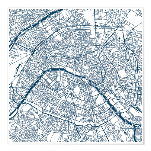 Premium poster Map of Paris