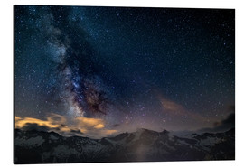 Aluminium print  The Milky Way galaxy glowing over snowcapped mountains in the Alps - Fabio Lamanna