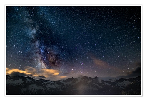 Premium poster The Milky Way galaxy glowing over snowcapped mountains in the Alps