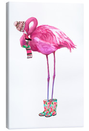 Canvas print  Pink flamingo with rubber boots - Kidz Collection