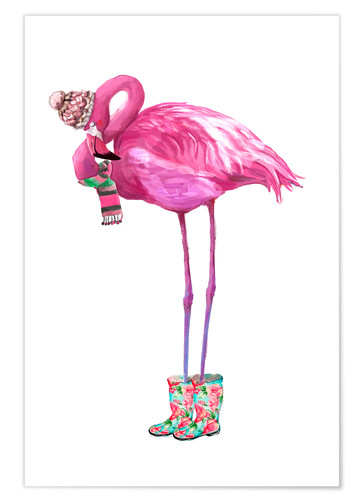 Premium poster Pink flamingo with rubber boots