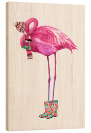 Wood  Pink flamingo with rubber boots - Kidz Collection