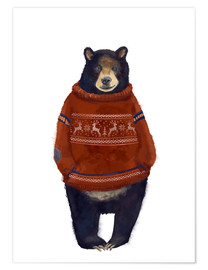 Poster  Mr. Bär in Norwegian sweater - Kidz Collection