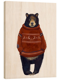 Wood print  Mr. Bearr in Norwegian sweater - Kidz Collection