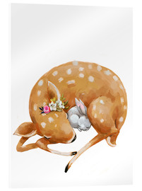 Acrylic print  Fawn and baby bunny - Kidz Collection