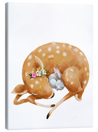 Canvas  Fawn and baby bunny - Kidz Collection
