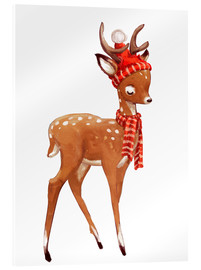 Acrylic print  Winter deer with scarf and hat - Kidz Collection
