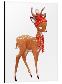 Alu-Dibond  Winter deer with scarf and hat - Kidz Collection