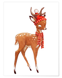 Poster  Winter deer with scarf and hat - Kidz Collection