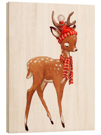 Wood  Winter deer with scarf and hat - Kidz Collection