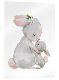 Acrylic glass  Cute white bunnies - mother with child - Kidz Collection