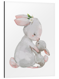 Alu-Dibond  Cute white bunnies - mother with child - Kidz Collection