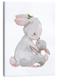 Canvas  Cute white bunnies - mother with child - Kidz Collection