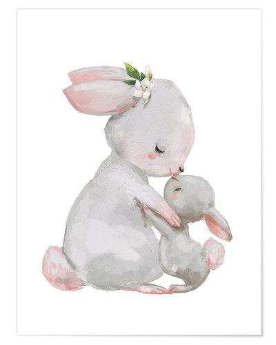 Premium poster Cute white bunnies - mother with child
