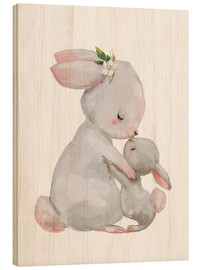 Wood  Cute white bunnies - mother with child - Kidz Collection