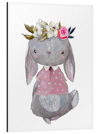 Aluminium print  Summer bunny with flowers in her hair - Kidz Collection