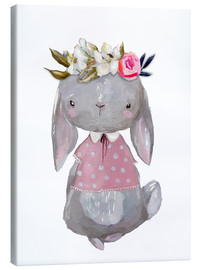 Canvas  Summer bunny with flowers in her hair - Kidz Collection