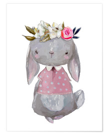 Poster  Summer bunny with flowers in her hair - Kidz Collection