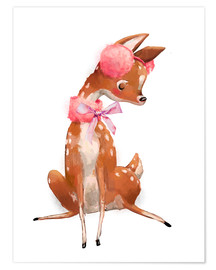 Premium poster Fawn in pink