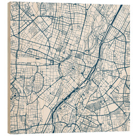 Wood print  City map of Munich - 44spaces