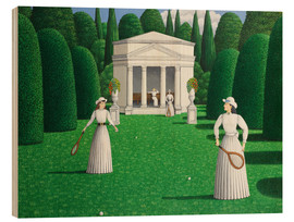 Wood print  Edwardian Ladies Playing Tennis - Larry Smart